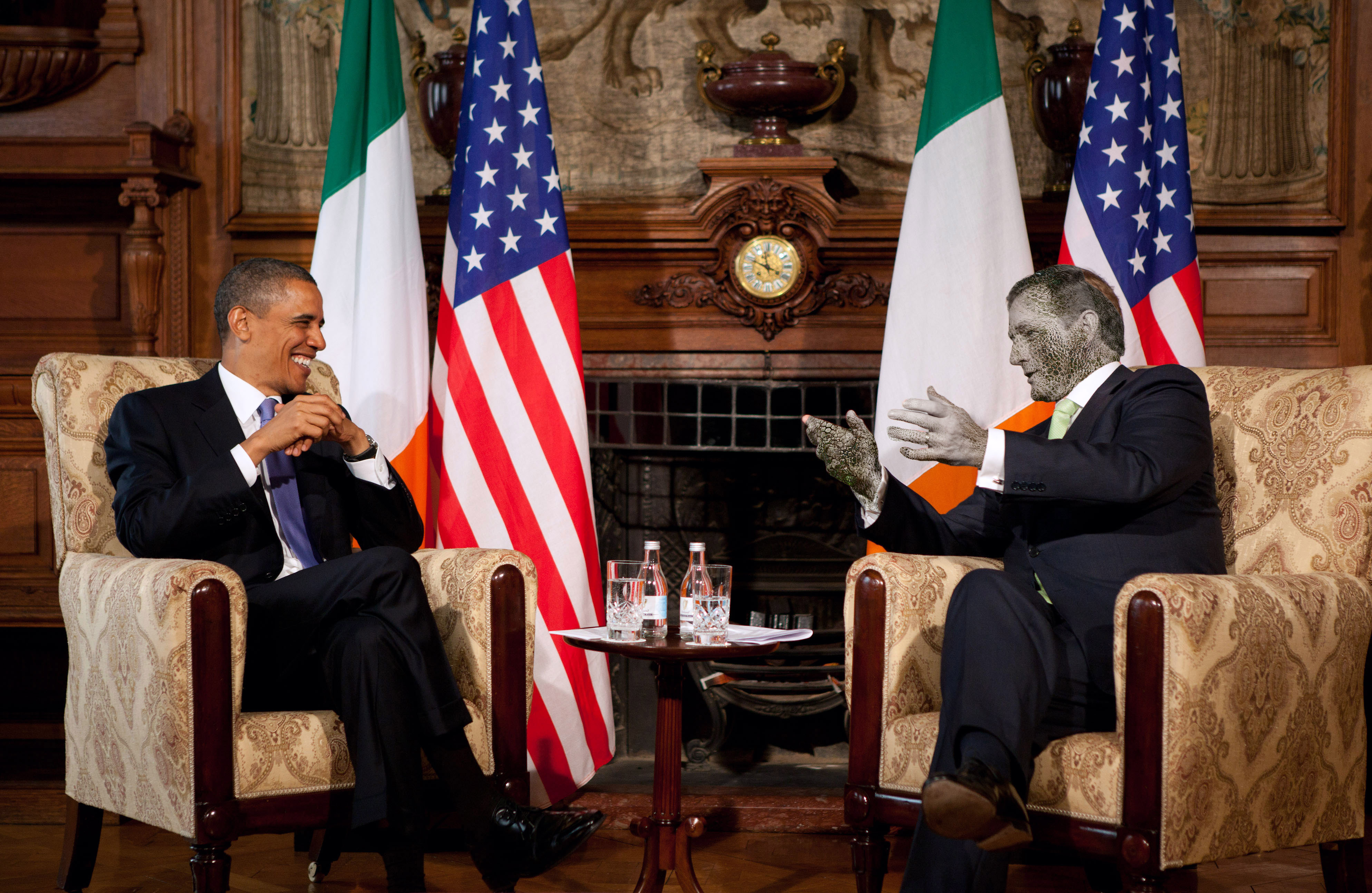 President Barack Obama and Taoiseach Enda Kenny participate in a bilateral meeting in the Dining Room at Farmleigh in Dublin, Ireland, May 23, 2011. (Official White House Photo by Pete Souza)